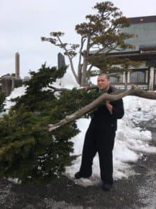 こんな太い枝も軽々と持ち上げます!